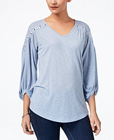 Love Scarlett Petite Embellished Peasant Top, Created for Macy's