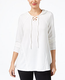 Style & Co Contrast Lace-Up Hoodie, Created for Macy's