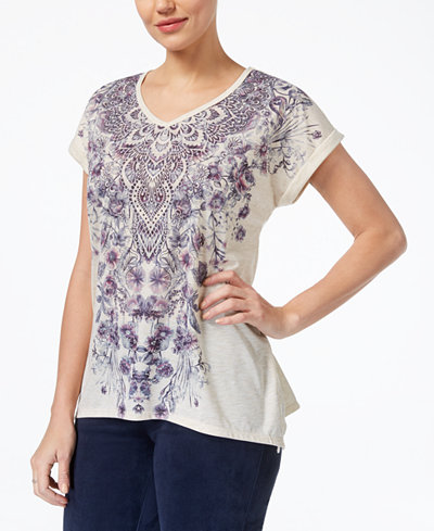Style & Co Petite Printed Cuff-Sleeve T-Shirt, Created for Macy's
