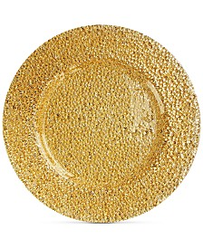 Jay Imports Glamour Gold-Tone Glass Charger Plate