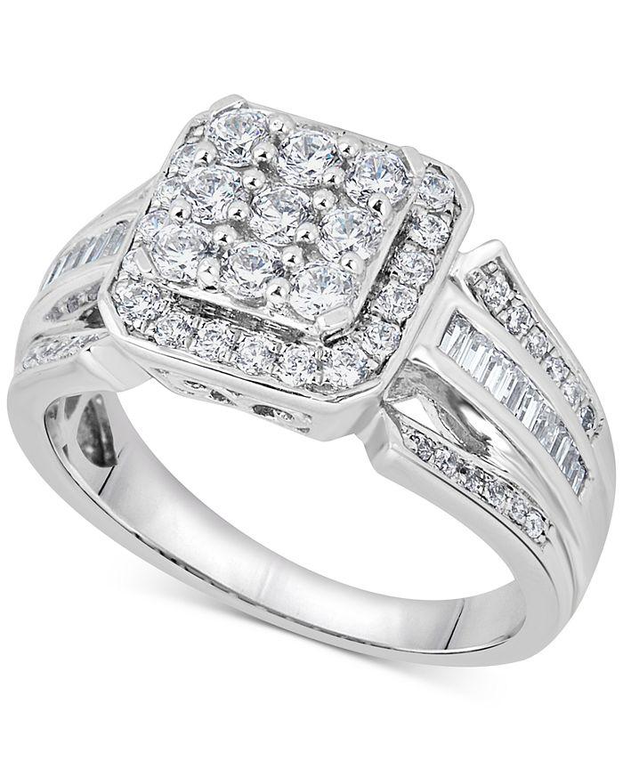 Macy's - Diamond Square Cluster Ring (1 ct. t.w.) in 14k White Gold