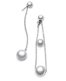 I.N.C. Silver-Tone Chain & Bead Mismatch Drop Earrings, Created for Macy's