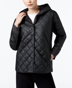 Eileen Fisher Recycled Polyester Blend Quilted Hooded Jacket 5408013