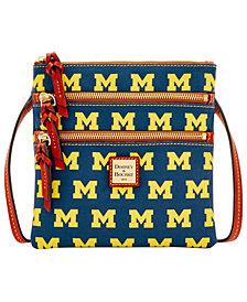 Dooney & Bourke Michigan Wolverines Triple Zip Crossbody Bag