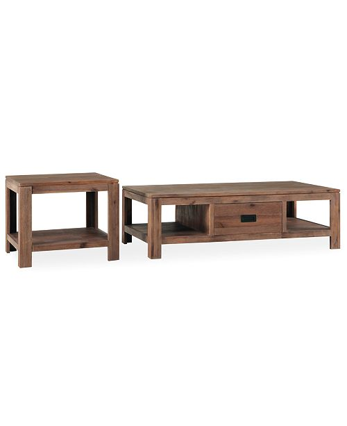 Furniture Champagne Tables, 2 Piece Set (Coffee Table and End Table)