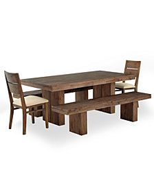 CLOSEOUT! Champagne Dining Room Furniture, 5 Piece Set, Created for Macy's, (Dining Trestle Table, 2 Side Chairs & 2 Benches)