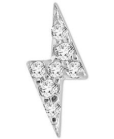 Diamond Accent Lightning Bolt Single Stud Earring in 14k White Gold