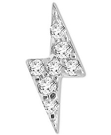 Diamond Accent Lightning Bolt Single Stud Earring in 14k White Gold