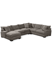 """Rhyder 4-Pc. 112"""" Fabric Sectional with Chaise - Custom Colors, Created for Macy's"""