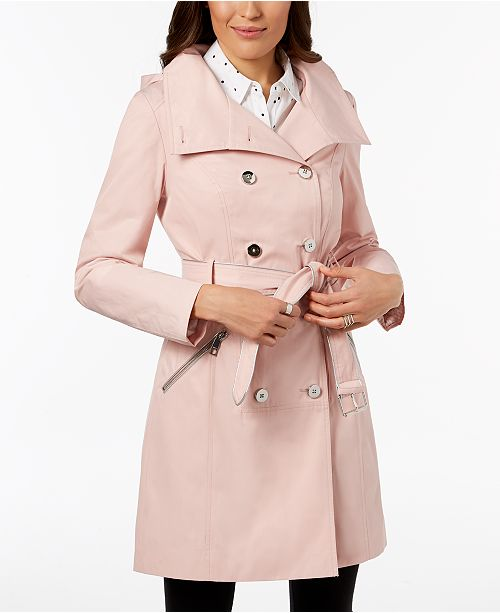 amazing selection 2019 best beautiful style GUESS Hooded Belted Double-Breasted Trench Coat & Reviews ...