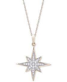 Wrapped™ Diamond Cluster Star Pendant Necklace (1/6 ct. t.w.) in 10k Gold, Created for Macy's