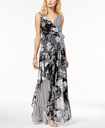 INC International Concepts Printed Ruffle-Trim Surplice Maxi Dress ...