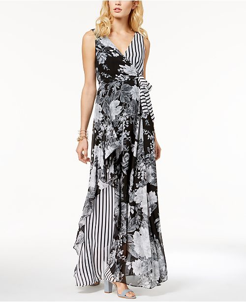 INC International Concepts I.N.C. Printed Ruffle-Trim Surplice Maxi Dress, Created for Macy's