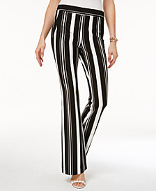 I.N.C. Curvy Striped Ponté-Knit Bootcut Pants, Created for Macy's