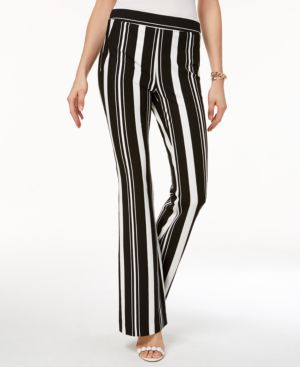I.n.c. Petite Striped Ponte-Knit Bootcut Pants, Created for Macy's