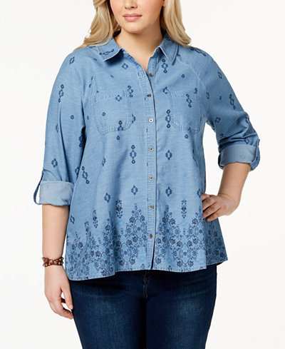 Style & Co Plus Size Cotton Chambray Embroidered Shirt, Created for Macy's