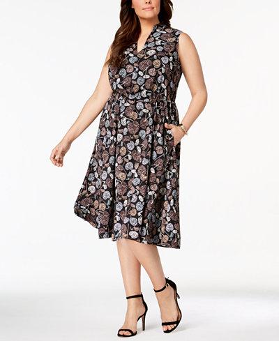 Anne Klein Plus Size Printed A-Line Dress