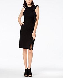 Bar III Ruffle Ponté-Knit Sheath Dress, Created for Macy's