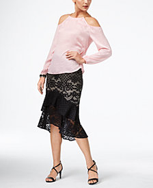 Thalia Sodi Cold-Shoulder Top & Lace Midi Skirt, Created for Macy's