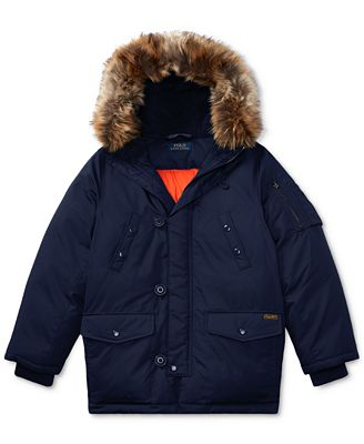 Ralph Lauren Military-Inspired Faux-Fur Parka, Big Boys (8-20 ...