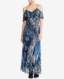 Polo Ralph Lauren Floral-Print Cold-Shoulder Maxidress