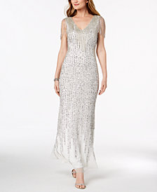 Adrianna Papell Embellished Fringe-Trim Gown