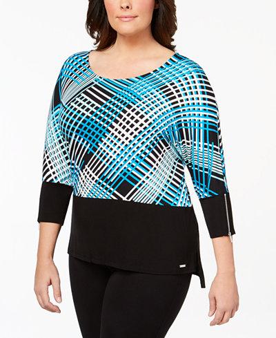 Calvin Klein Plus Size Printed Dolman-Sleeve Top