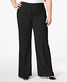Alfani Plus Size Pintucked Wide-Leg Pants, Created for Macy's