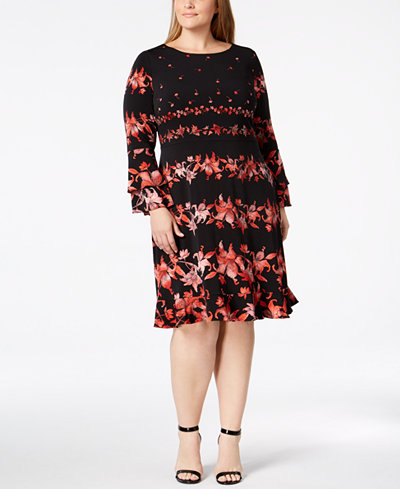 Alfani Plus Size Floral-Stripe Ruffled Dress, Created for Macy's