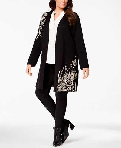 Alfani Plus Size Intarsia-Knit Long Cardigan, Created for Macy's