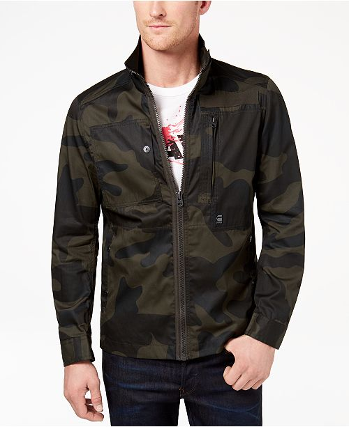 G-Staw RAW Men's Camo Front-Zip Jacket