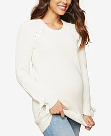 Motherhood Maternity Lace-Trim Scoop-Neck Sweater
