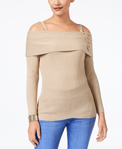 Thalia Sodi Metallic Lace-Up Cold-Shoulder Sweater, Created for Macy's