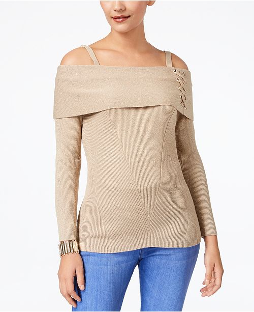 a865b6219aa ... Thalia Sodi Metallic Lace-Up Cold-Shoulder Sweater