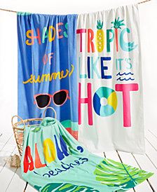 Martha Stewart Collection Words Beach Towels Collection, Created for Macy's
