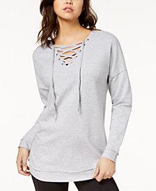 Ultra Flirt Juniors' Lace-Up Sweatshirt