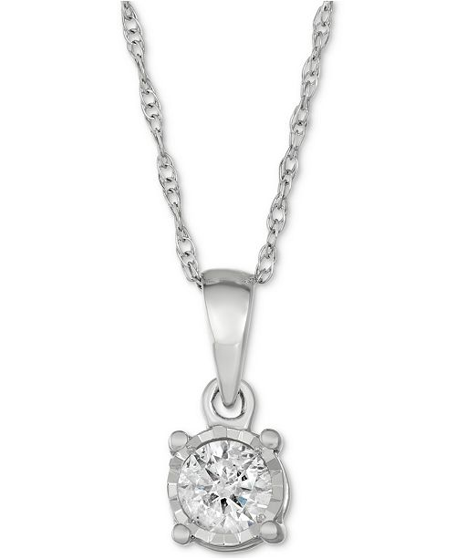 Macy's Diamond Drop Pendant (1/5 ct. t.w.) in 10k White Gold