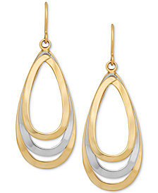 Two-Tone Teardrop Openwork Drop Earrings in 14k Gold & White Gold