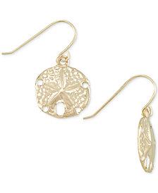 Sand Dollar Drop Earrings in 10k Gold