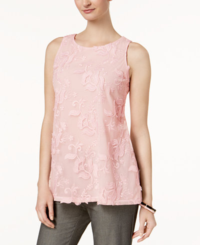Charter Club Fringe Embroidered Blouse, Created for Macy's