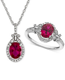 Lab Created Ruby (2-1/2 ct. t.w.) & White Sapphire (3/4 ct. t.w.) Pendant Necklace & Ring in Sterling Silver