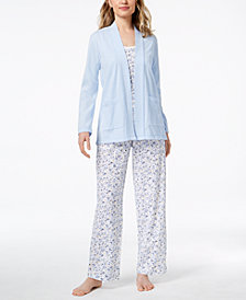 Charter Club 3-Piece Cotton Pajama Set, Created for Macy's