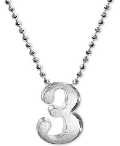 Alex Woo Number 3 Pendant Necklace in Sterling Silver