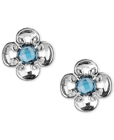Carolyn Pollack Blue Topaz Flower Stud Earrings (4-3/8 ct. t.w.) in Sterling Silver