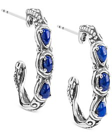 Caroly Pollack Lapis Lazuli Hoop Earrings (1 ct. t.w.) Hoop Earrings in Sterling Silver