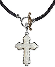 "Mother-of-Pearl Cross Black Leather 20"" Pendant Necklace in Sterling Silver"