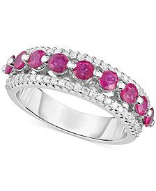 Certified Ruby (1-1/3 ct. t.w.) & Diamond (1/3 ct. t.w.) Ring in Sterling Silver