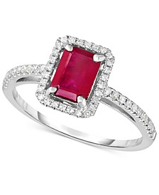 Certified Ruby (1-1/4 ct. t.w.) & Diamond (1/5 ct. t.w.) Ring in 14k White Gold