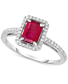 Ruby (1-1/4 ct. t.w.) & Diamond (1/5 ct. t.w.) Ring in 14k White Gold