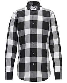 BOSS Men's Slim-Fit Buffalo Checked Cotton Dress Shirt